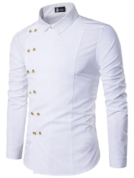 Ericdress Plain Double-Breasted Unique Men's Shirt