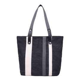 Ericdress Large Capacity Stripe Canvas Shoulder Bag