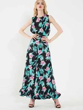 Ericdress Sleeveless Floral Wide Legs Women Suits
