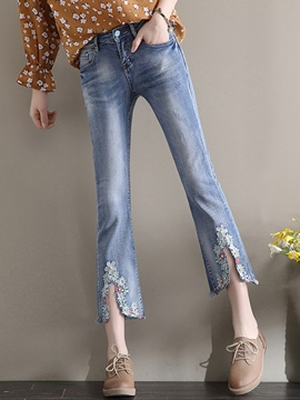 Ericdress Mid-Waist Embroidery Bellbottoms Jeans