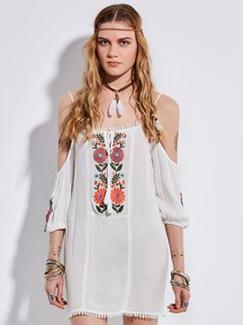 Ericdress Tassel Floral Embroidery Backless Blouse