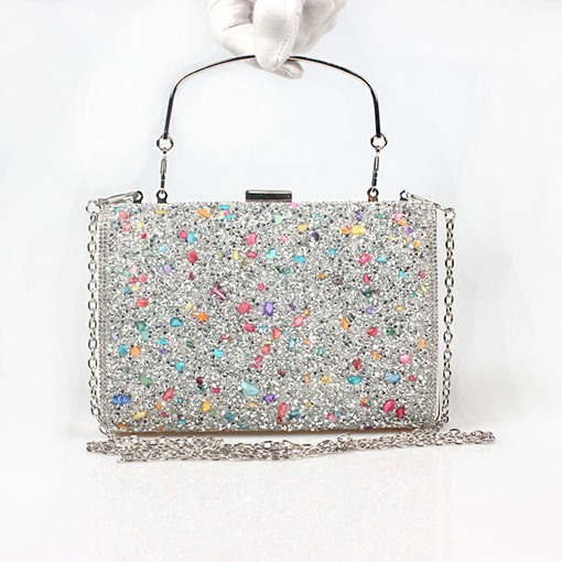 Ericdress Dazzling Colorful Stone Encrusted Design Clutch