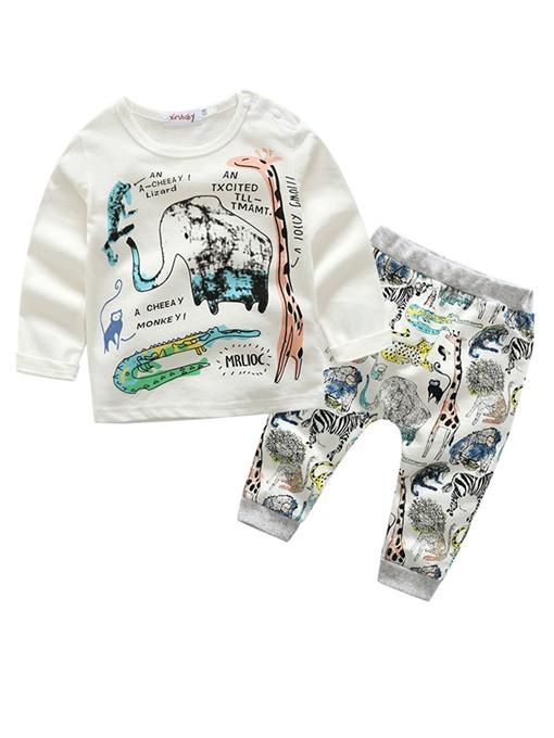 Ericdress Unisex Animal Print Long Sleeve And Pant 2-Pcs Babys Outfit Set