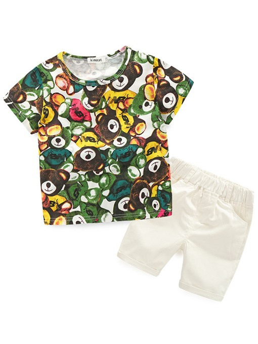 Ericdress Bear Print T-Shirt And Pant 2-Pcs Boys Summer Outfit