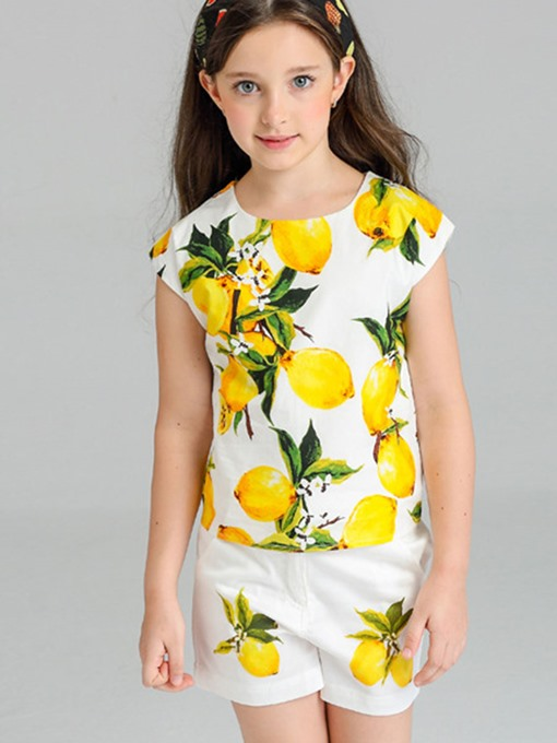 Ericdress Lemon Pattern Short Sleeve And Pant Girls 2-Piece Outfit