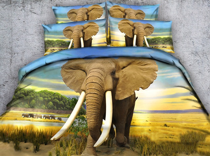 3D African Elephant Printed Cotton 4-Piece Bedding Sets/Duvet Covers