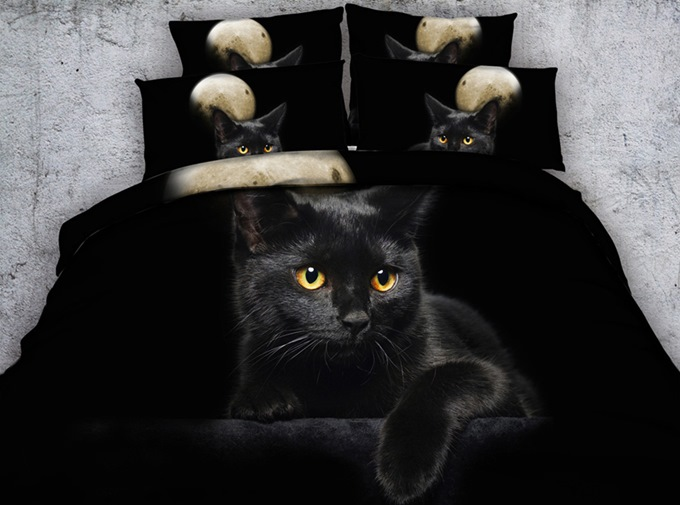 3D Black Kitten Printed Cotton 4-Piece Bedding Sets/Duvet Covers