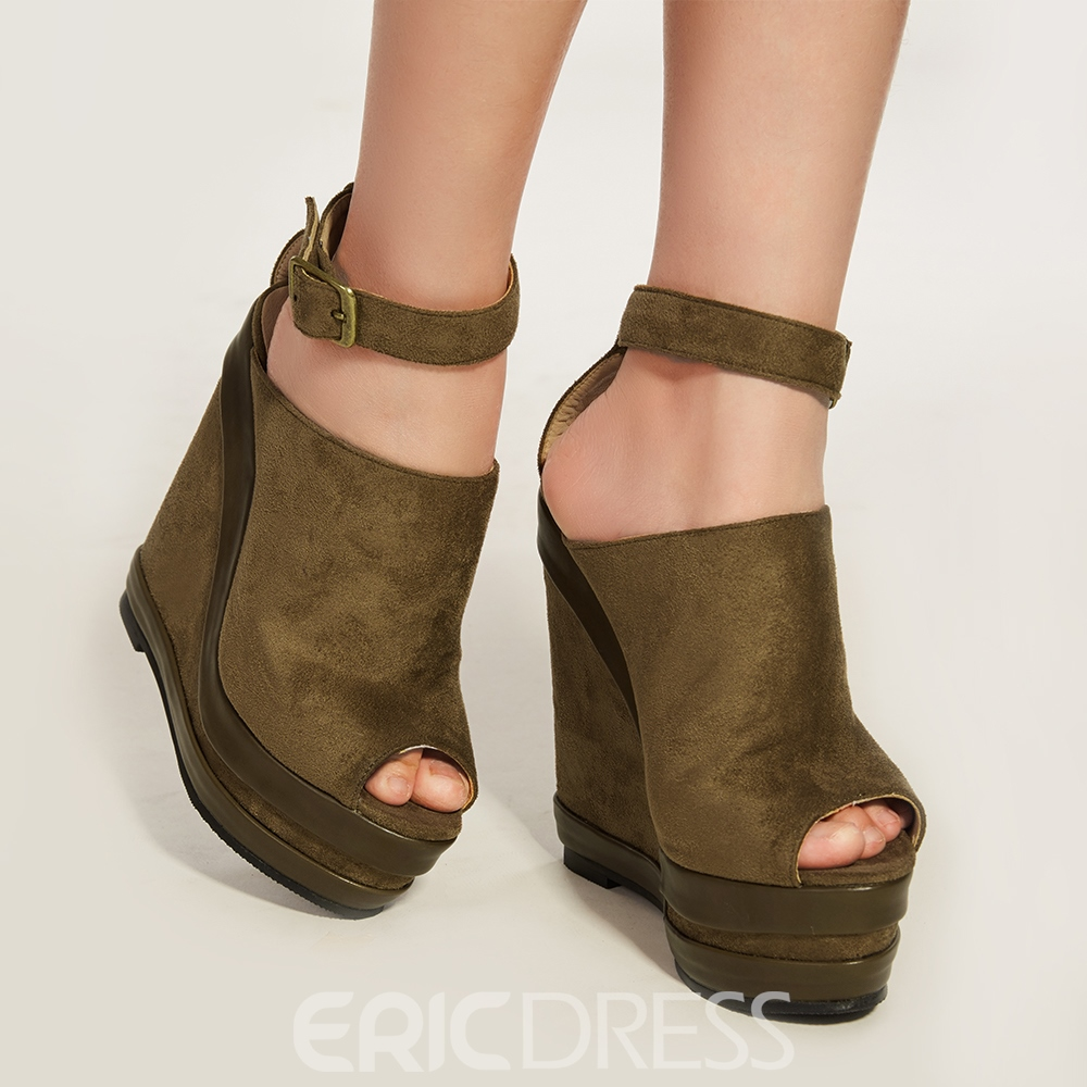 Ericdress Chic Buckle Ankle Strap Wedge Sandals