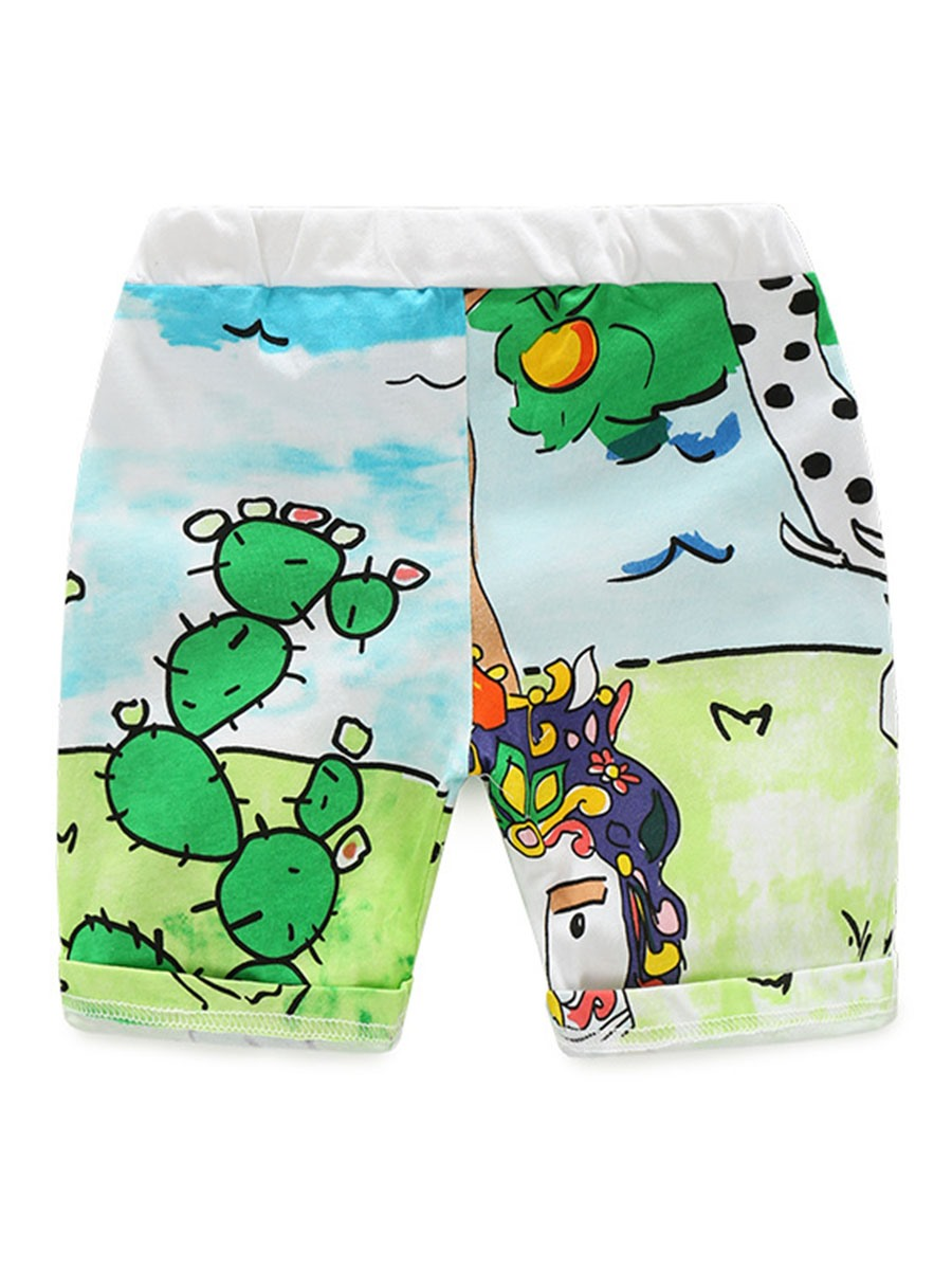 Ericdress Cartoon Print Short Sleeve And Pant Boys Summer Outfit 2-Pcs Set