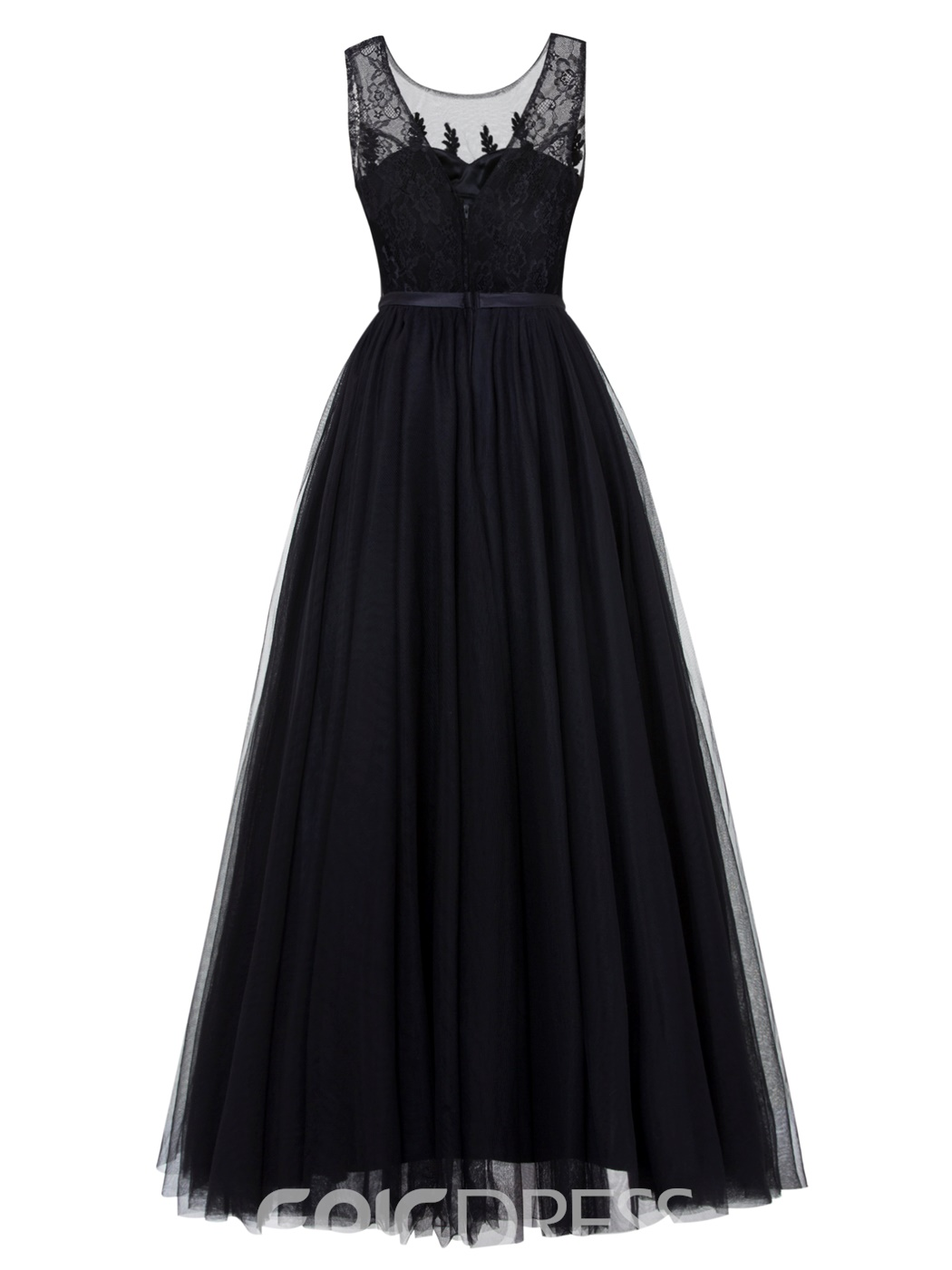 Ericdress A Line Tulle Floor Length Prom Dress With Applique And Beadings