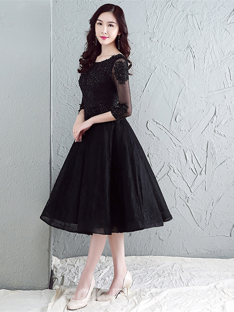 Ericdress A Line 3/4 Sleeve Applique Tea Length Homecoming Dress