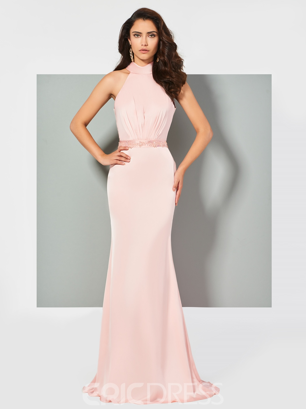 Ericdress Halter Beaded Mermaid Evening Dress In Floor Length