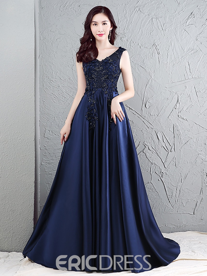 Ericdress A-Line Backless Appliques Lace Evening Dress With Court Train