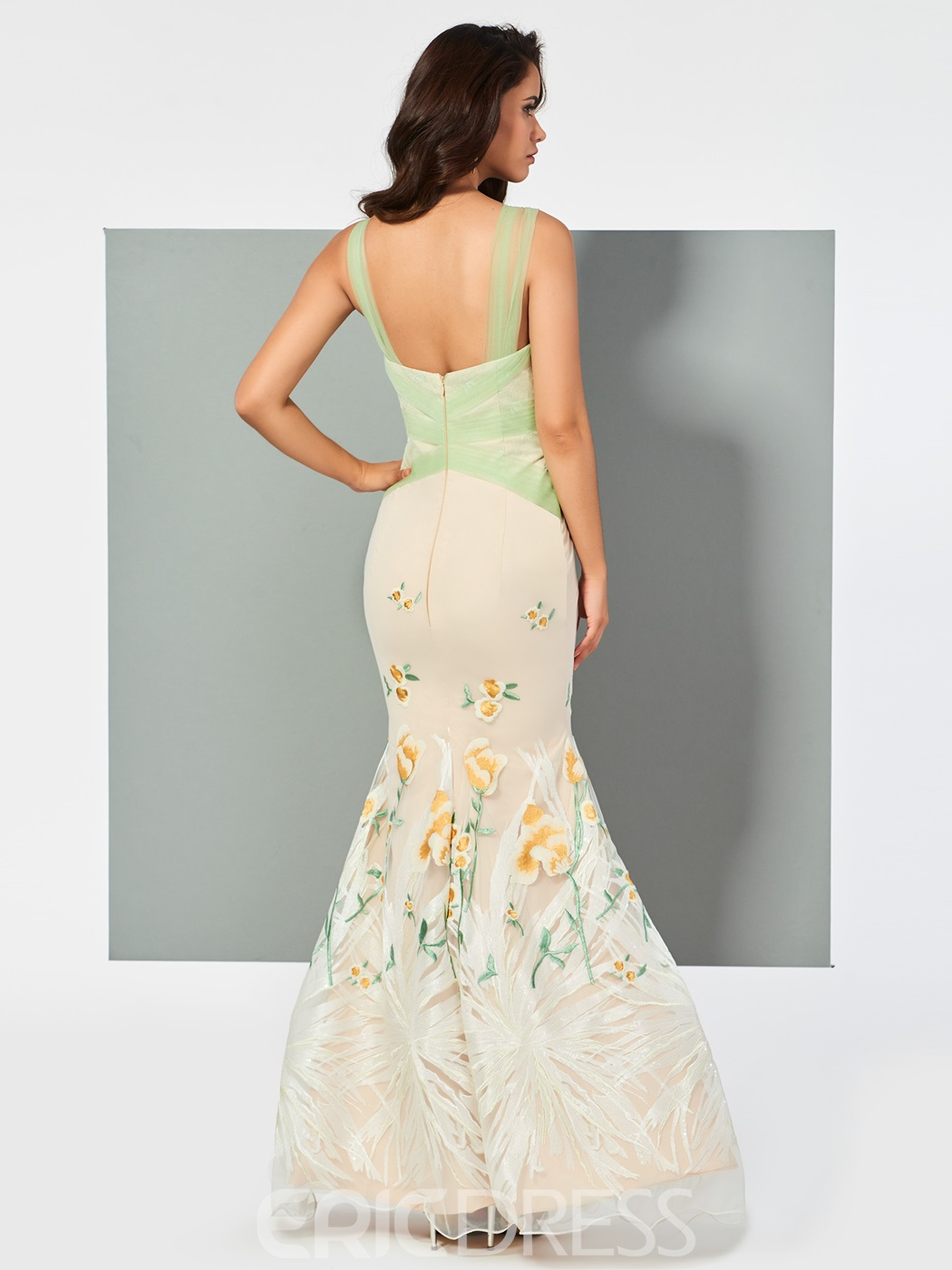 Ericdress Straps Embroidery Lace Mermaid Evening Dress In Floor Length