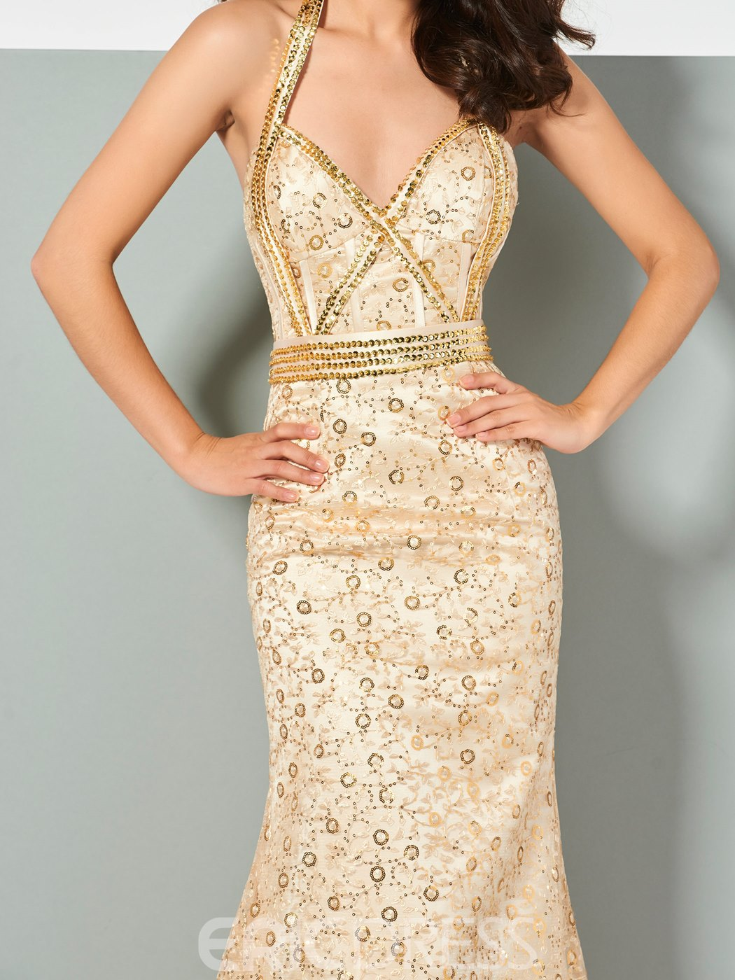 Ericdress Halter Lace Mermaid Evening Dress With Beadings