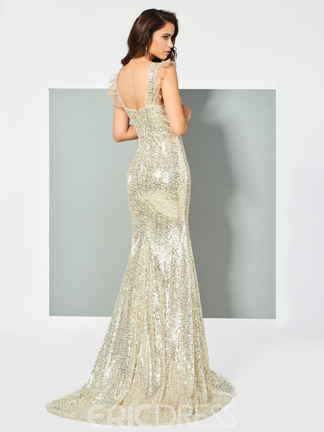 Ericdress Straps Sequins Mermaid Evening Dress With Sweep Train