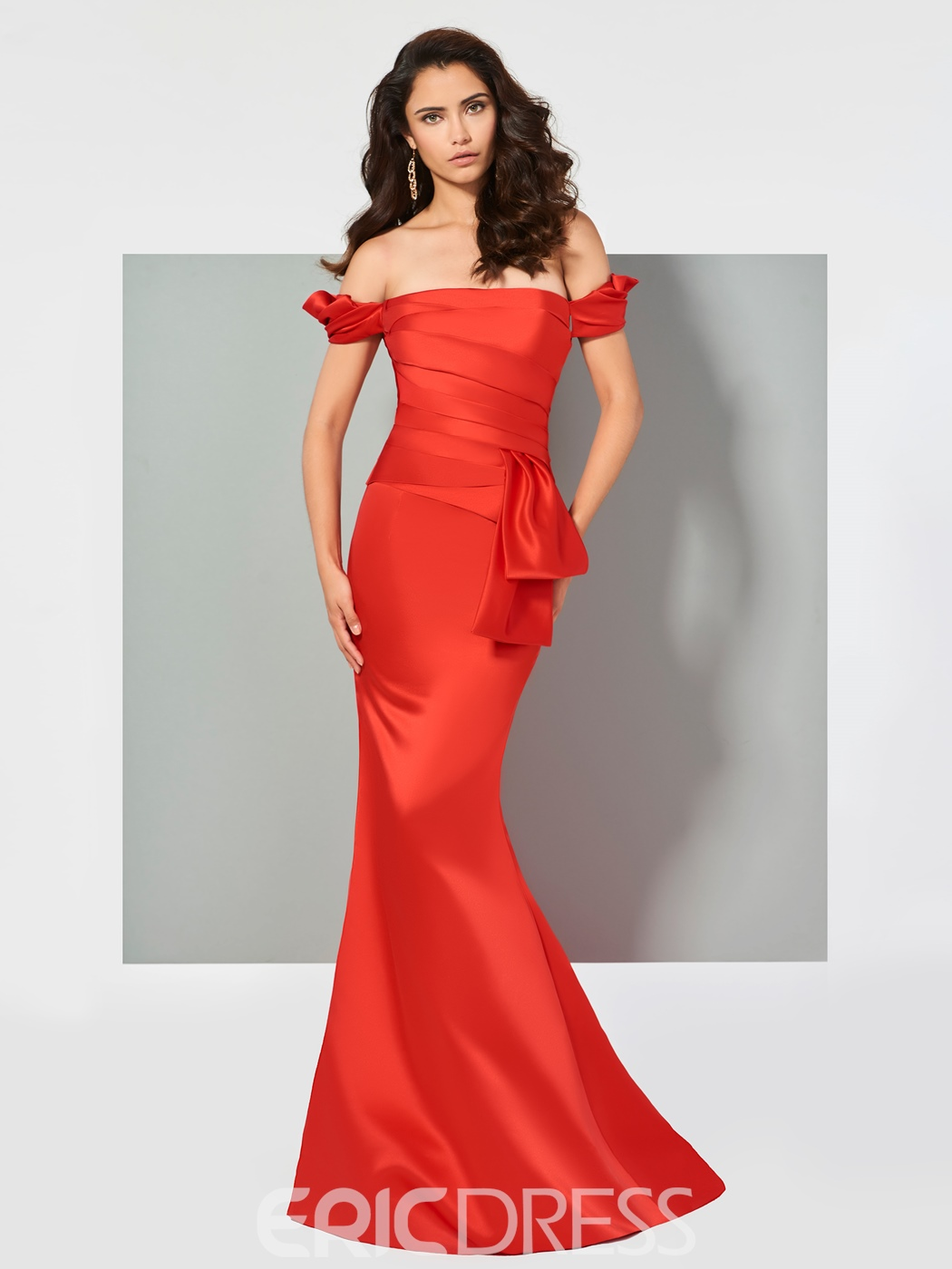 Ericdress Off The Shoulder Pleats Mermaid Evening Dress