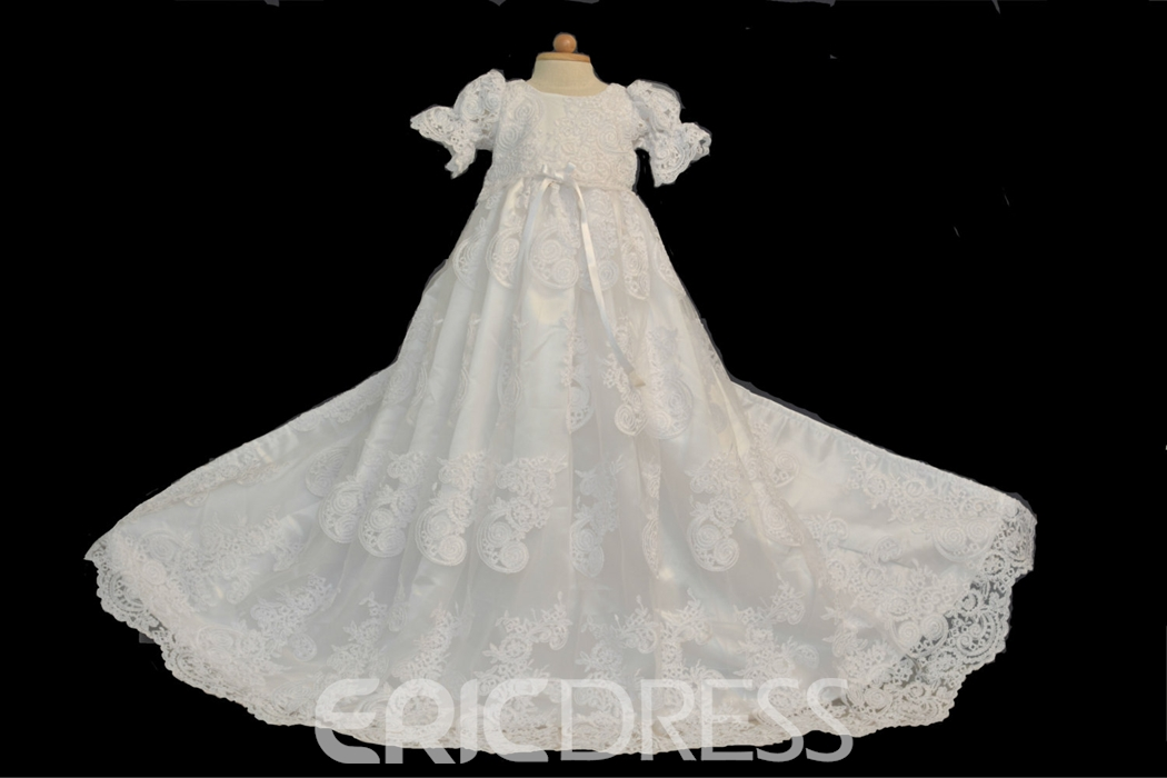 Ericdress long beautiful lace christening gown for girls for Making baptism dress from wedding gown