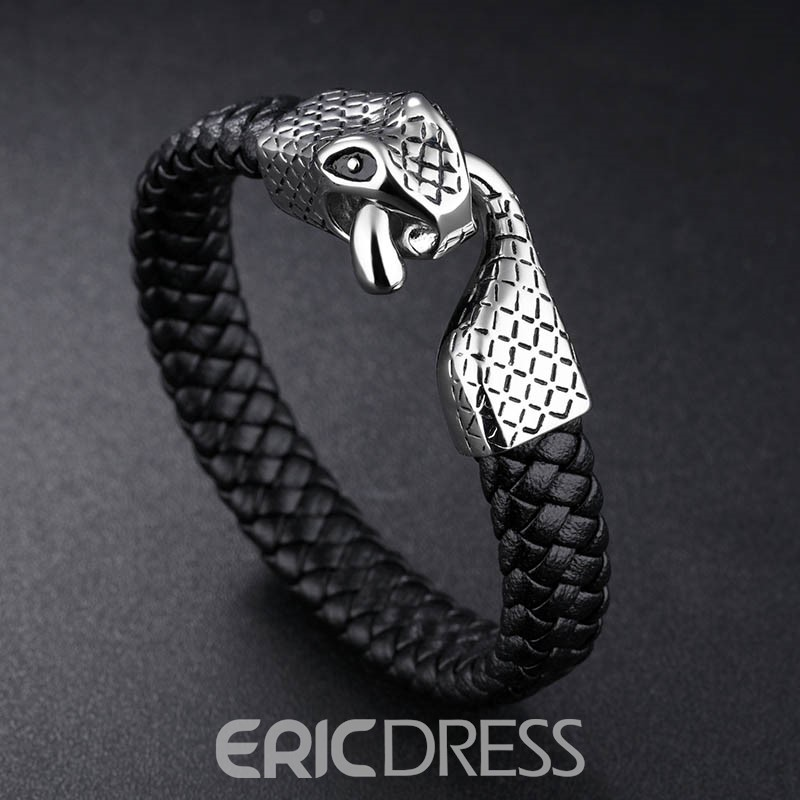 Ericdress Personality Stainless Steel Snake Buckle Leather Bracelet