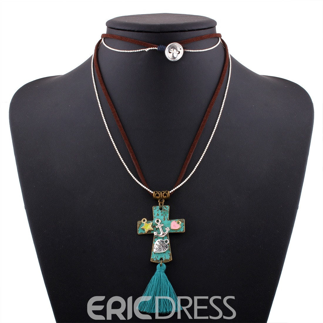 Ericdress Cross Pendant Tassel Necklace Women's Necklace