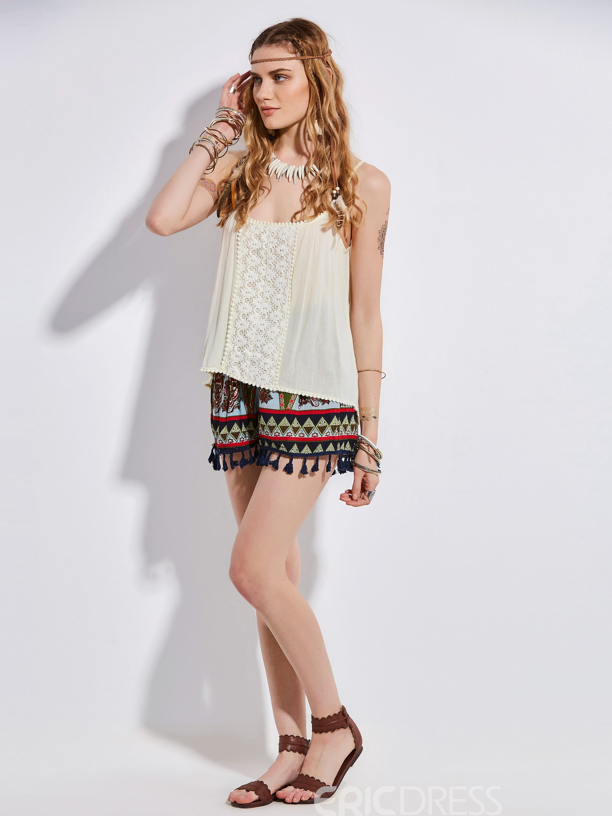 Ericdress Bohoartist Lace Patchwork Tank Top