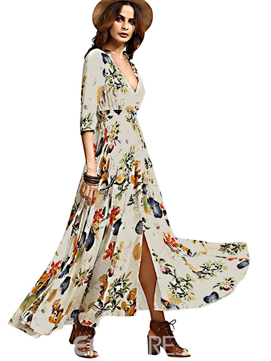 Ericdress V-Neck Single-Breasted Floral Print Maxi Dress