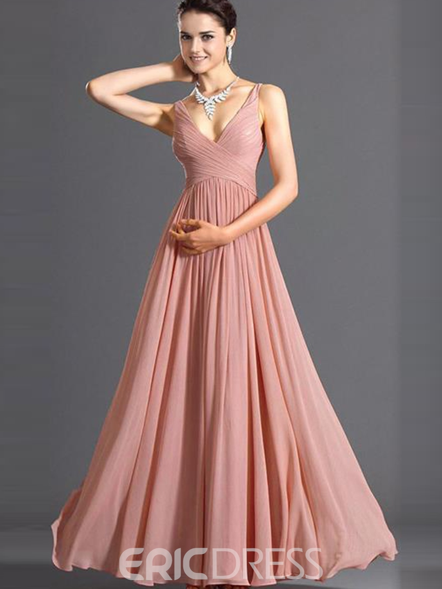 Ericdress V-Neck Backless Sleeveless Maxi Dress