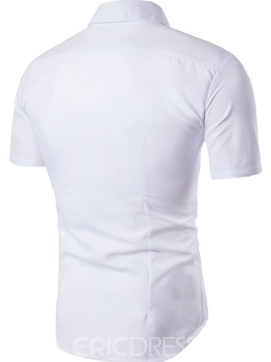Ericdress Plain Short Sleeve Vogue Embroidery Men's Shirt
