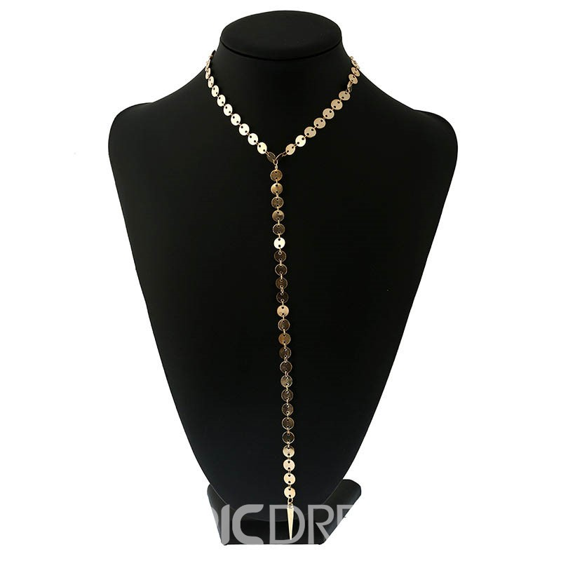 Ericdress Attractive Gold Color Paillette Long Necklace