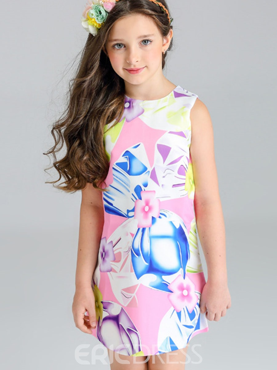 Ericdress Floral Printing Sleeveless A-Line Girls Day Dress