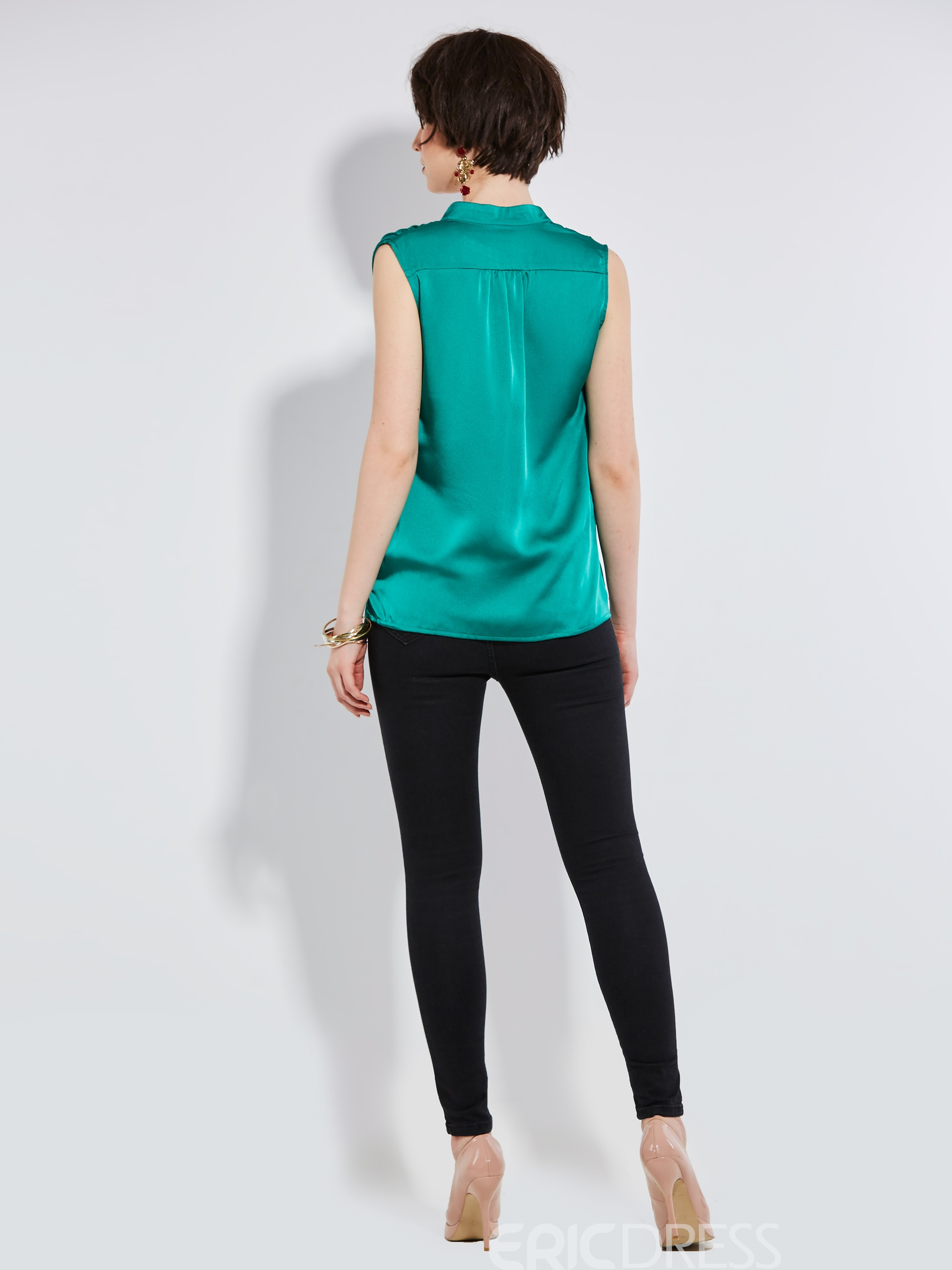 Ericdress Slim Asymmetric Button Sleeveless Blouse
