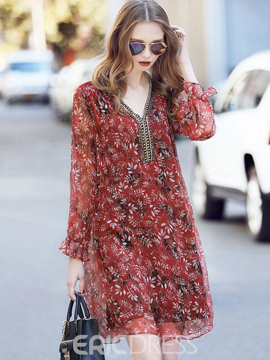 Ericdress Vintage Print V-Neck Travel Look Casual Dress