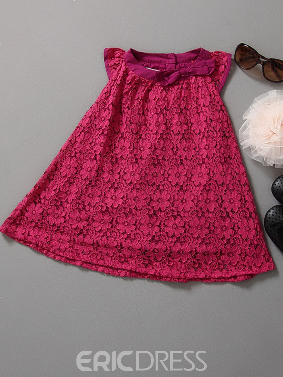 Ericdress Purple Floral Lace Bowknot Girls Casual Dress