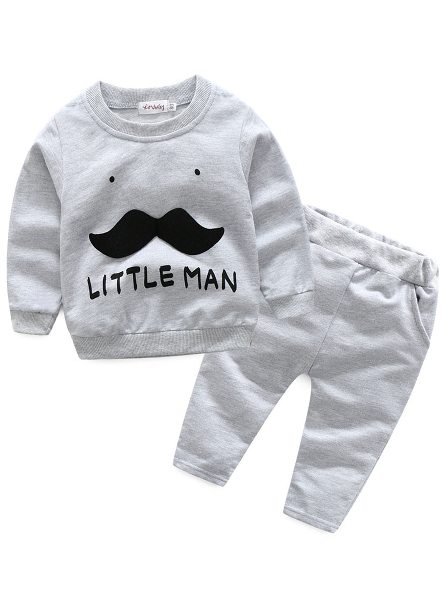 Ericdress Beard Pattern Long Sleeve And Pant Baby Boys Outfit 2-Pcs Set