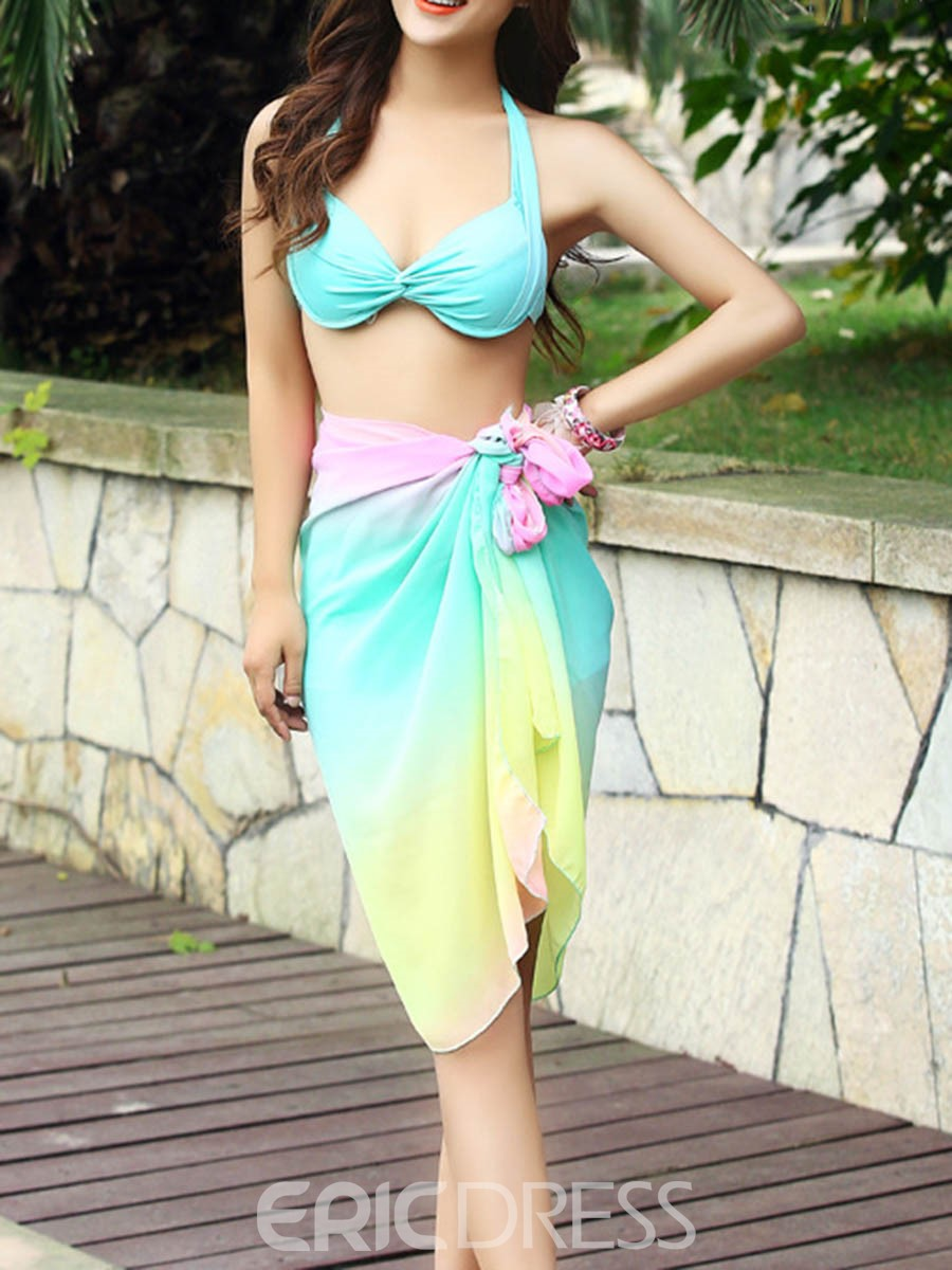 Ericdress Lace-Up Rainbow Color Three Piece Suit Tankini Set