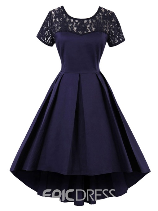 Ericdress European Lace Patchwork Pleated High-Low A Line Dress