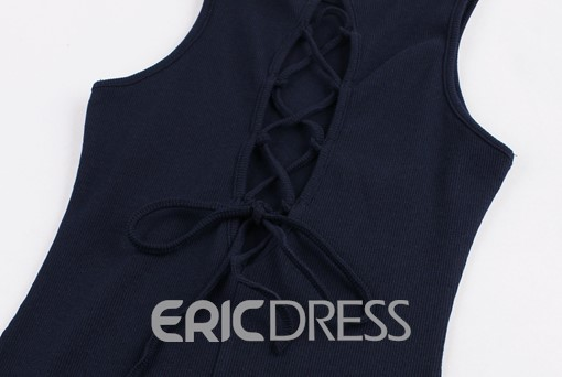 Ericdress Backless Lace-Up Bodycon Dress