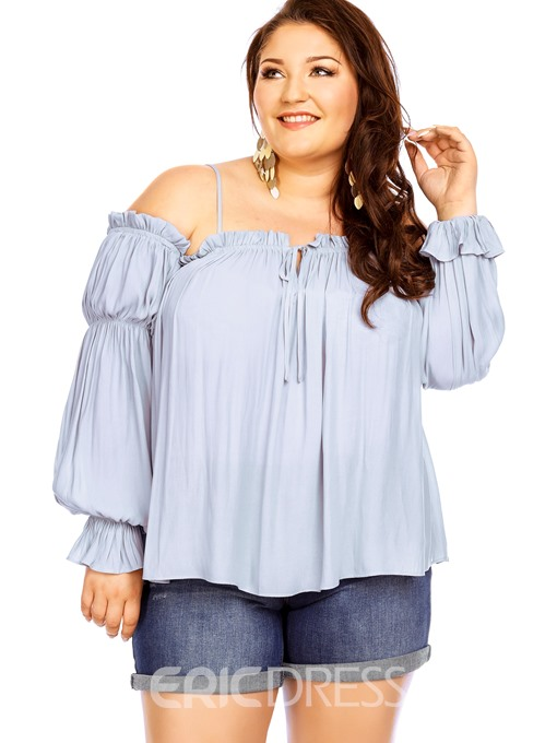 Ericdress Plus Size Off Shoulder Pleated Plus Size Blouse