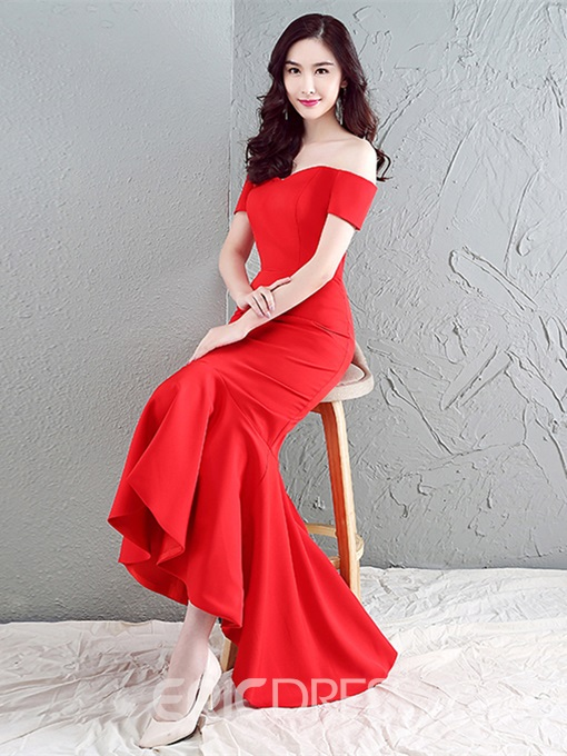 Ericdress Off The Shoulder Asymmetry Mermaid Evening Dress