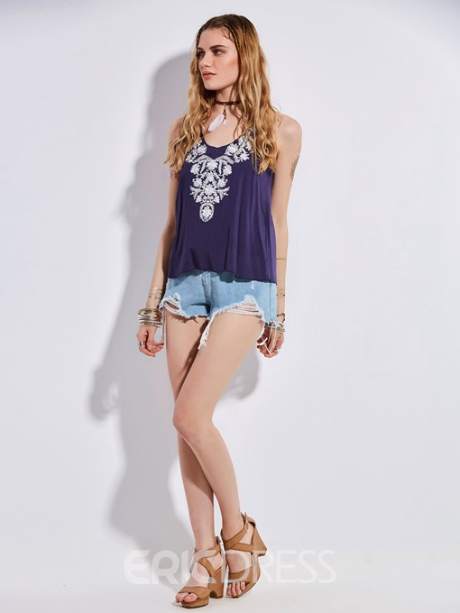 Ericdress Floral Embroideried Backless Tank Top