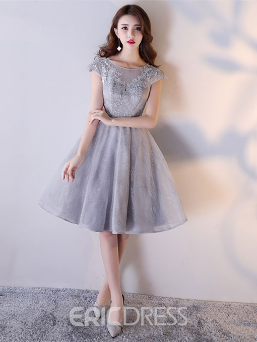 Ericdress A Line Cap Sleeve Applique Lace Short Homecoming Dress