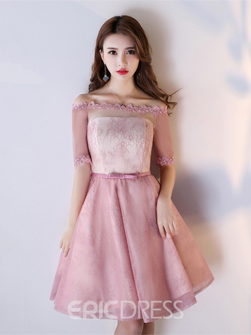 Ericdress A Line Half Sleeve Off The Shoulder Lace Homecoming Dress