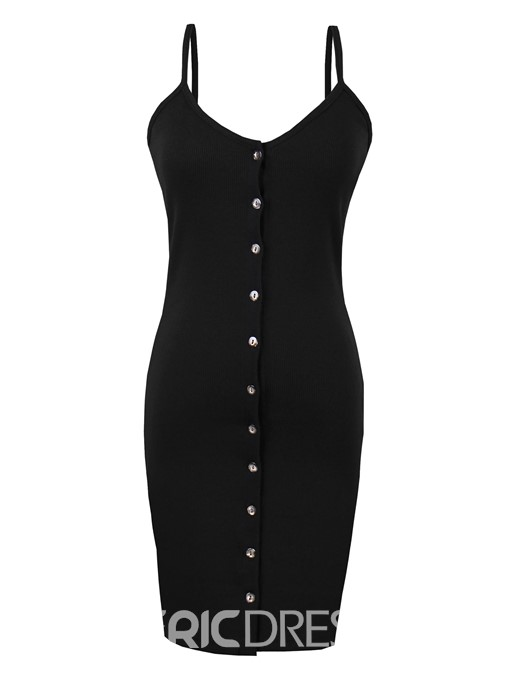 Spaghetti Strap Single-Breasted Women's Bodycon Dress