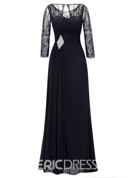 Ericdress A Line Lace Half Sleeve Beaded Pleats Chiffon Ankle Length Prom Dress