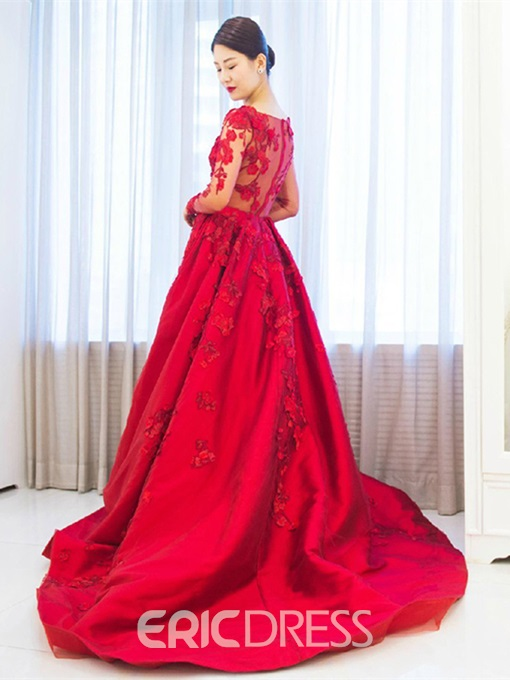 Ericdress Long Sleeves Appliques Evening Dress