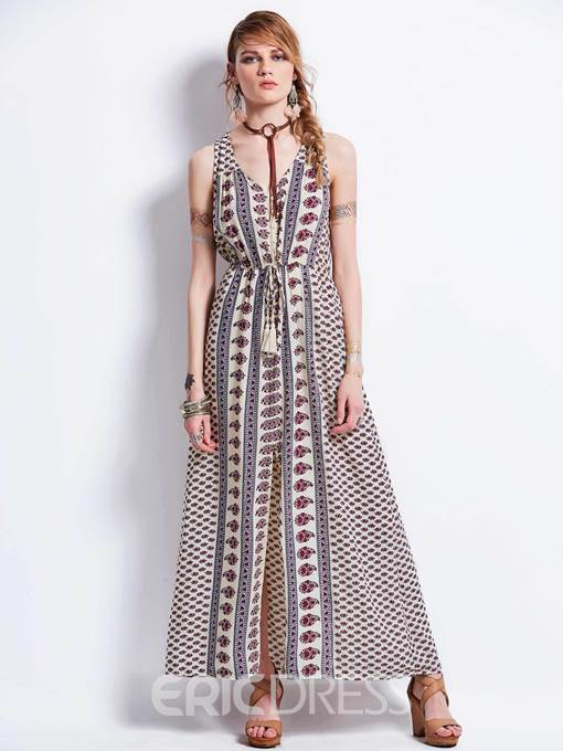 Ericdress V-Neck Sleeveless Geometric Pattern Women's Maxi Dress