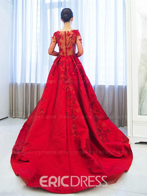 Ericdress Long Sleeves A-Line Off-the-Shoulder Appliques Evening Dress With Court Train