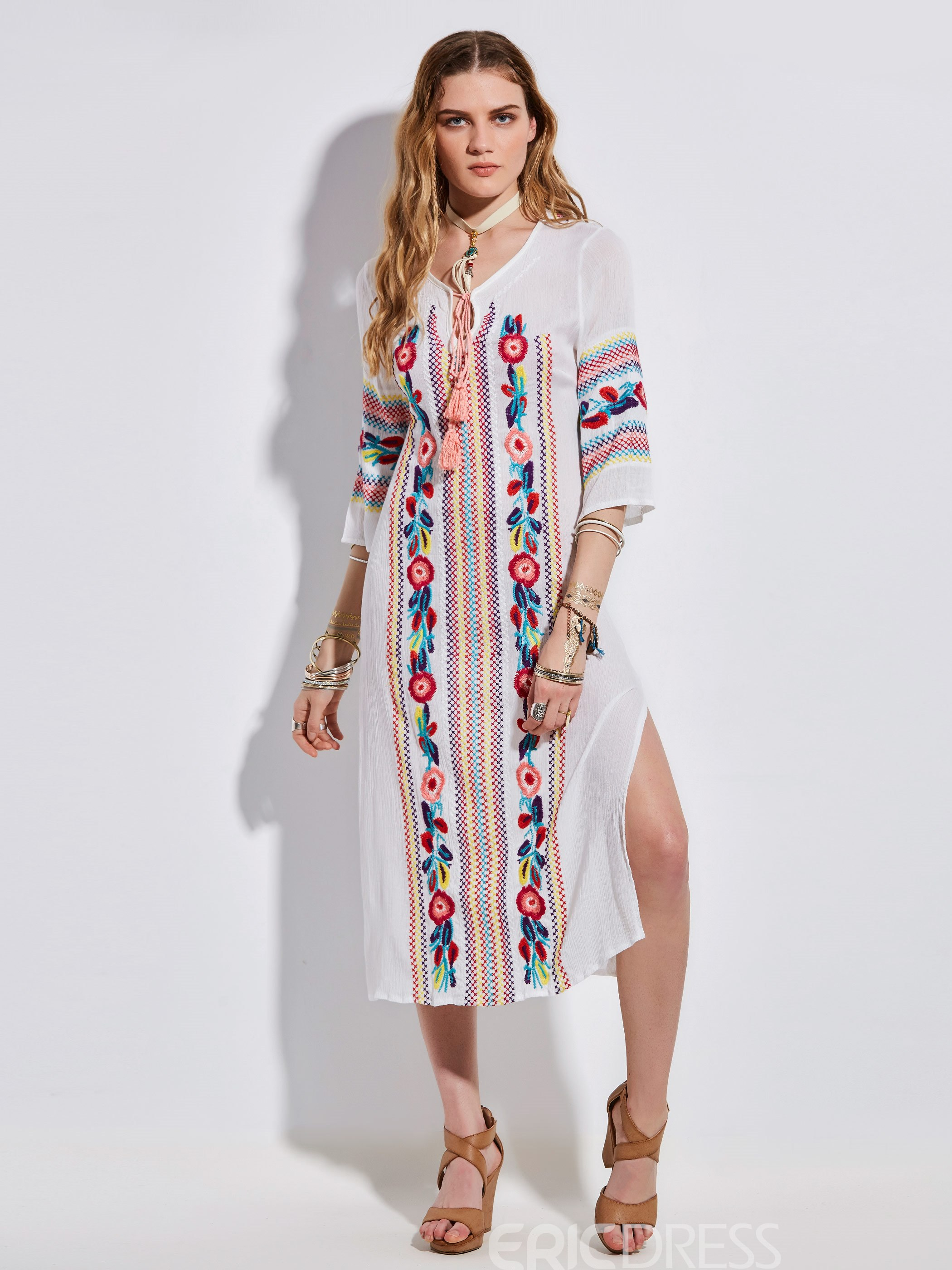 Ericdress V-Neck Embroidery Three-Quarter Sleeve Maxi Dress