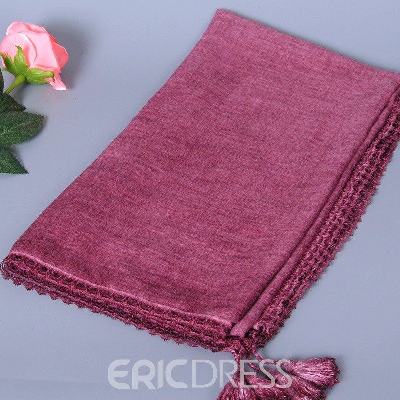 Ericdress Solid Color Cotton Tassel Scarf for Women