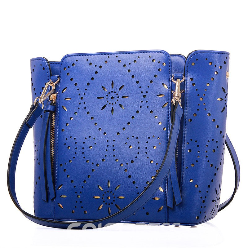 Ericdress Hollowed Pattern Solid Color Shoulder Bag